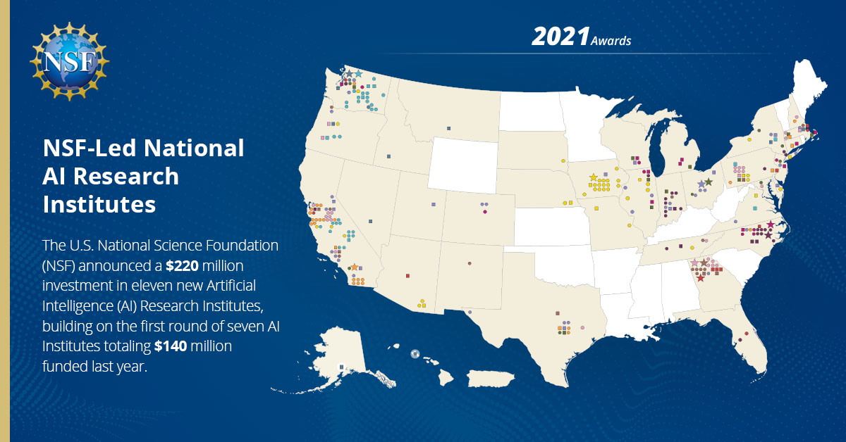 Announcement:   #NSF AI Research Institutes   Congratulations to Madison WI for being awarded four principal & one collaborative designations!  #MKETech #Madison #Midwest #TEChicago #siliconprairie  #AI #xAI #DataScience #ML #DL