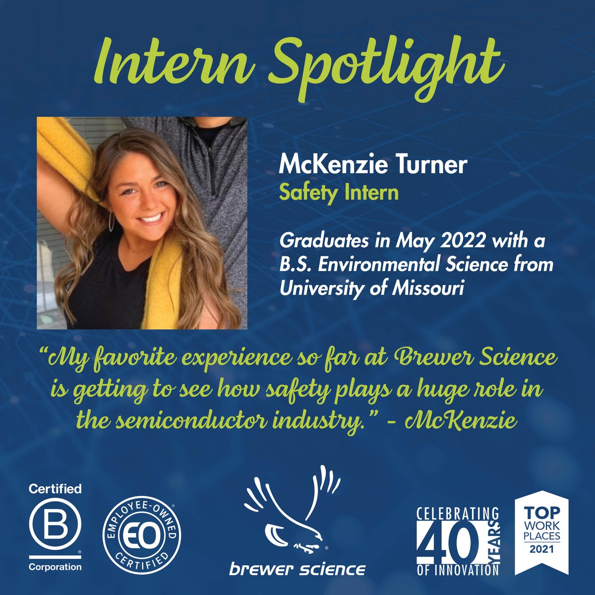 test Twitter Media - Today we are featuring McKenzie Turner, Safety Intern at Brewer Science! Learn more about our intern experiences on the website: https://t.co/RmzFSjYSf6 https://t.co/tcJjVP8k5x