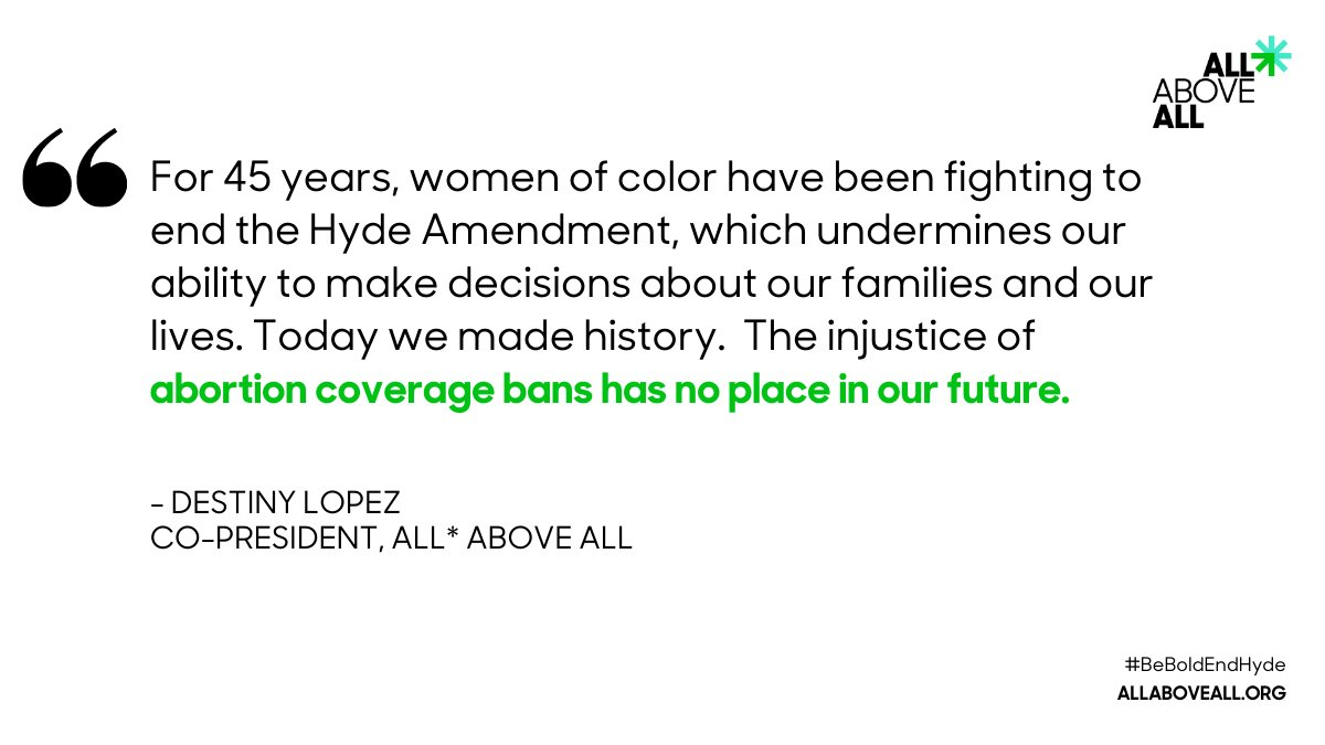 HUGE NEWS! We're getting closer to #AbortionJustice for all — today's Hyde-free spending bill marks a crucial step. Make no mistake, this would not have been possible without the bold leadership of Black women and women of color in Congress. #BeBoldEndHyde