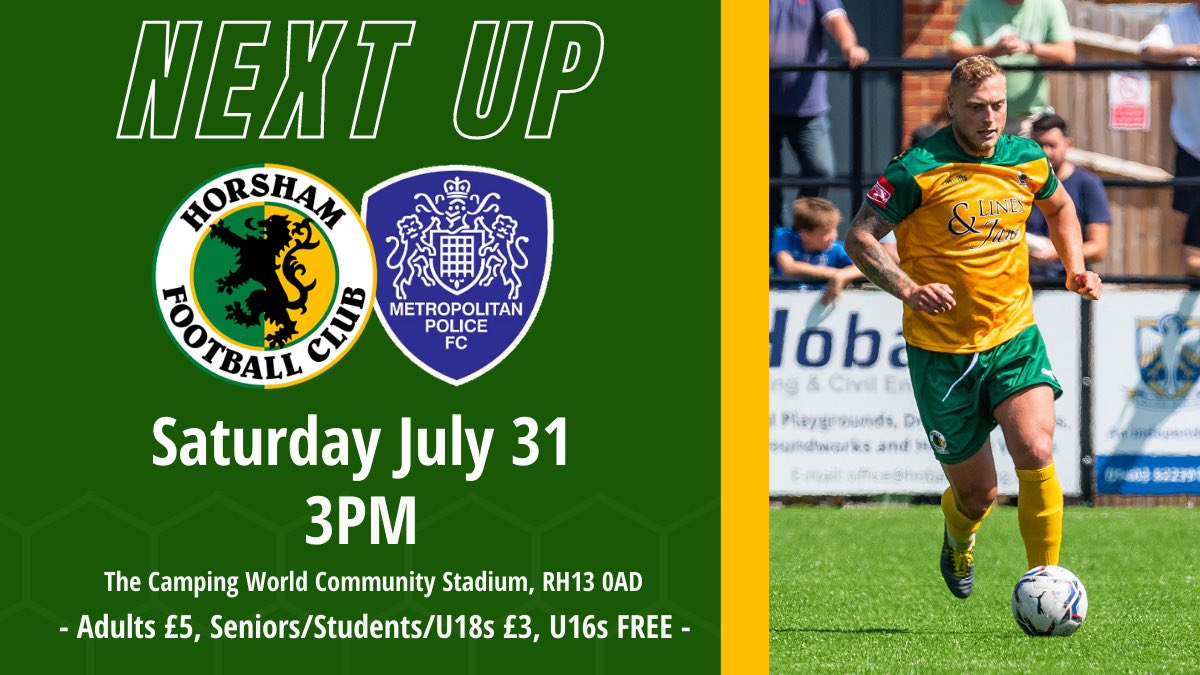 We welcome @MetPoliceFC to The Camping World Community Stadium 𝐭𝐨𝐦𝐨𝐫𝐫𝐨𝐰!  Tickets will be available on the gate but you can still buy them in advance below. 🎟  👉 https://t.co/a8wHAlHgEV  #HorshamFC 💛💚