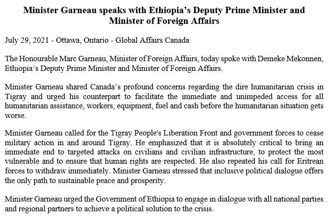 Who do you think you are? Have some respect. #Ethiopia is a sovereign state just like #Canada. You act as if Ethiopia is one of your provinces. Stop Interfering. Ethiopia will solve its problems. TPLF is a terrorist& must surrender by any means. #EthiopiaPrevails #EritreaPrevails