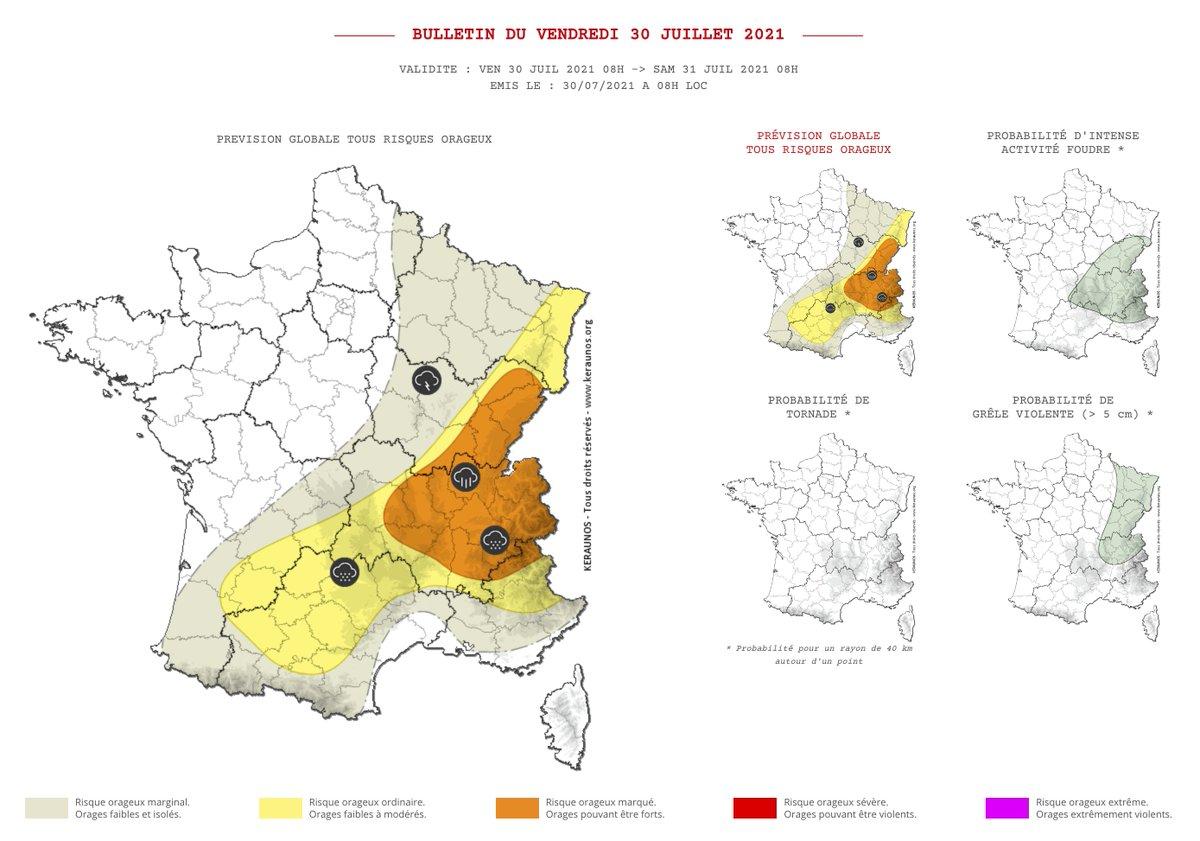 Des #orages circulent dans le sud dès ce matin. Ils vont se réactiver dans l'après-midi pour devenir isolément forts sur le centre-est de la #France avec de fortes #pluies possibles et des chutes de #grêle. Bulletin complet ->