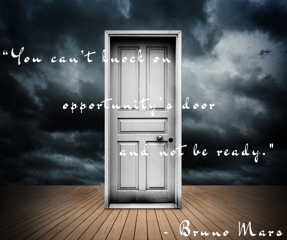 """""""You can't knock on opportunity's door and not be ready."""" – Bruno Mars #life #opportunity #readyforanything"""