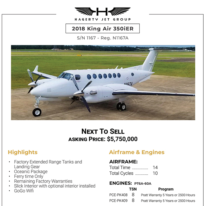 Price reduced - 2018 #King #Air #350iER at @hagertyjetgroup   Remaining factory warranties Oceanic package More details at: https://t.co/sREmS4rfRz  #bizjet #bizav #aircraftforsale #privatejet #privateflying #jetforsale #businessaviation