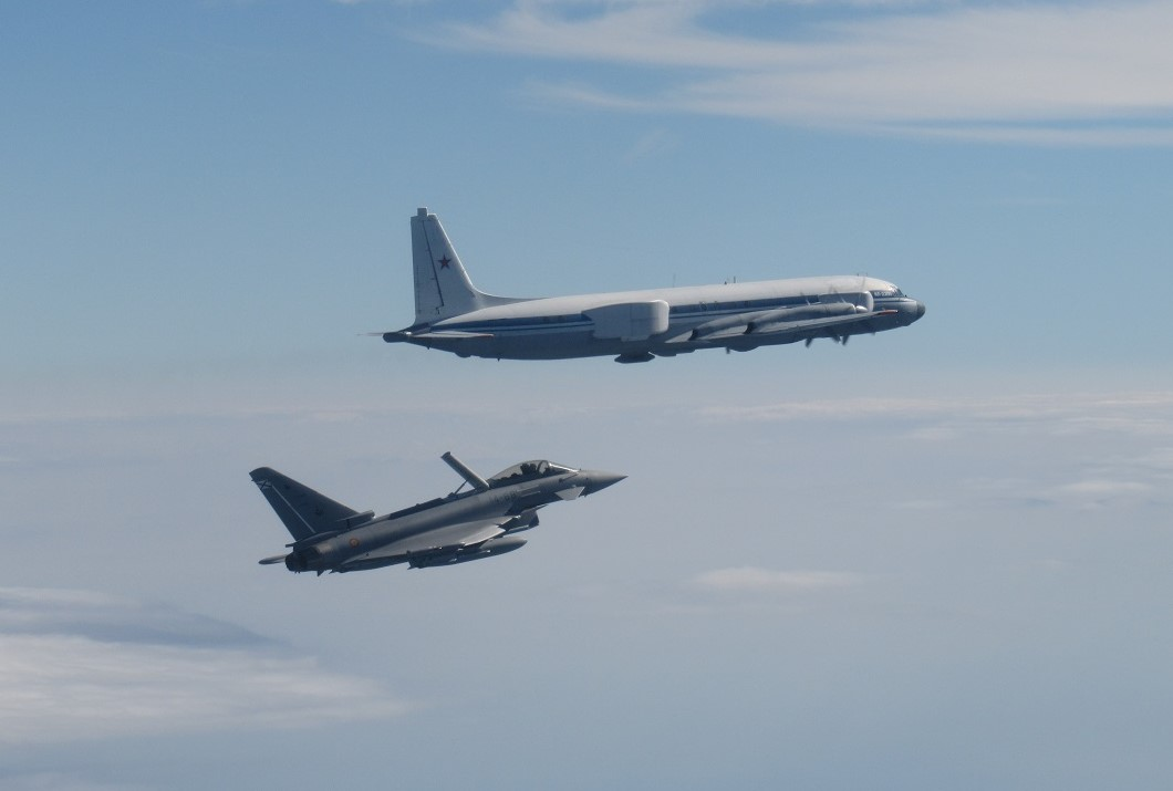 A Spanish Eurofighter intercepts a Russian IL-22 PP MUTE on 29 July 21. The Russian IL-22 PP MUTE is a specialized electronic warfare aircraft.