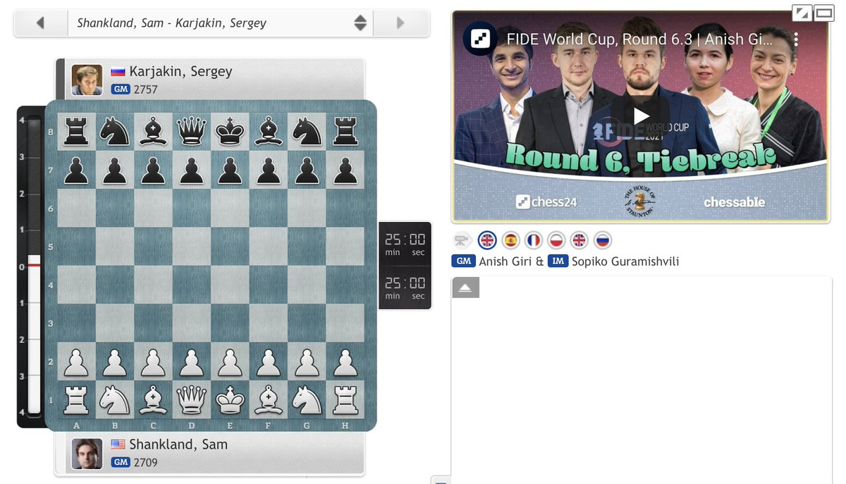 test Twitter Media - In half an hour, Sergey Karjakin & Sam Shankland play tiebreaks to decide who faces Vladimir Fedoseev in the #FIDEWorldCup semifinal. @anishgiri and @Sopiko20 will be back to commentate on all the action:   https://t.co/KaU5Qxdq1f   #c24live https://t.co/ibiduxvkY2