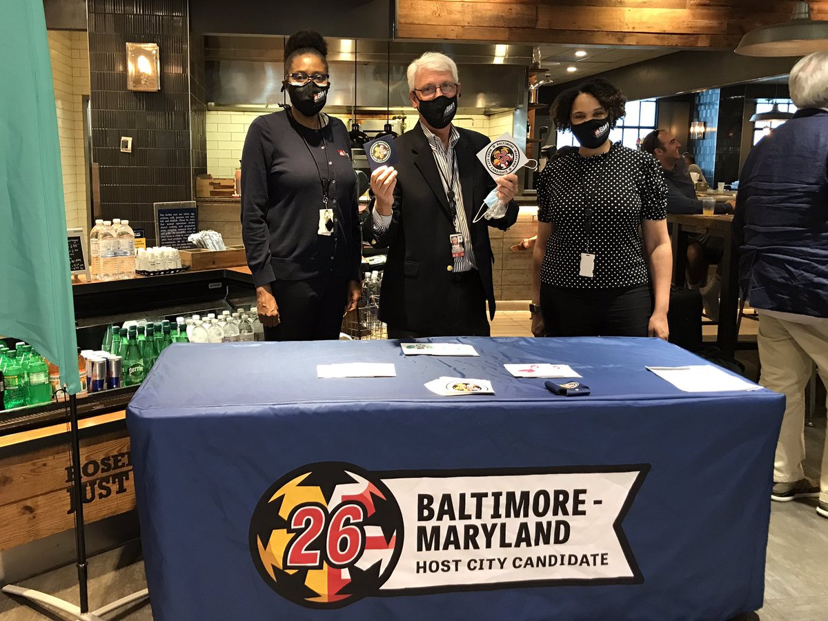A fun time this morning at @FlyingDog Tap House near our A/B Food Court!  @BaltimoreMD2026 hosted a soccer watch party for BWI Marshall Airport passengers. Breakfast, #BMoreMD2026 swag and a thrilling match. #SceneAtBWI #MDOTscenes