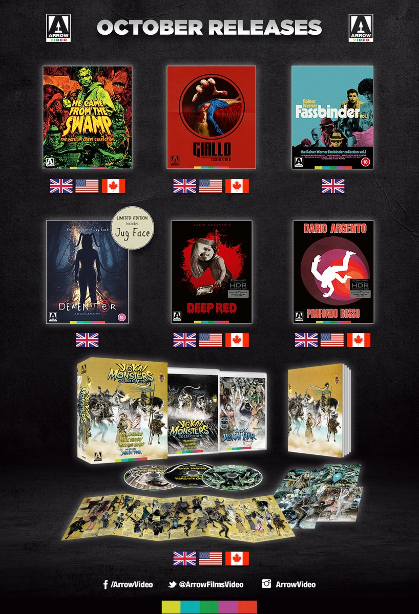 Amazing October lineup for @ArrowFilmsVideo!