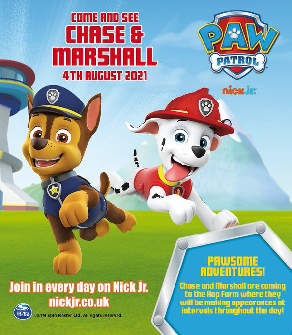 Get ready to see your favourite hero TV pups, PAW PATROL's CHASE & MARSHALL. This Wednesday 4th August, at intervals during the day, at The Hop Farm Family Park! Info here: https://t.co/271AjaBZiX @pawpatrol #pawpatrol @KMWhatsOn @ForKidsinKent @...