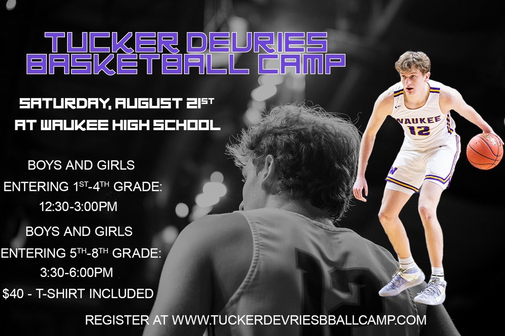 Come enjoy camp with 2021 Mr. Basketball and State Champion Tucker Devries!