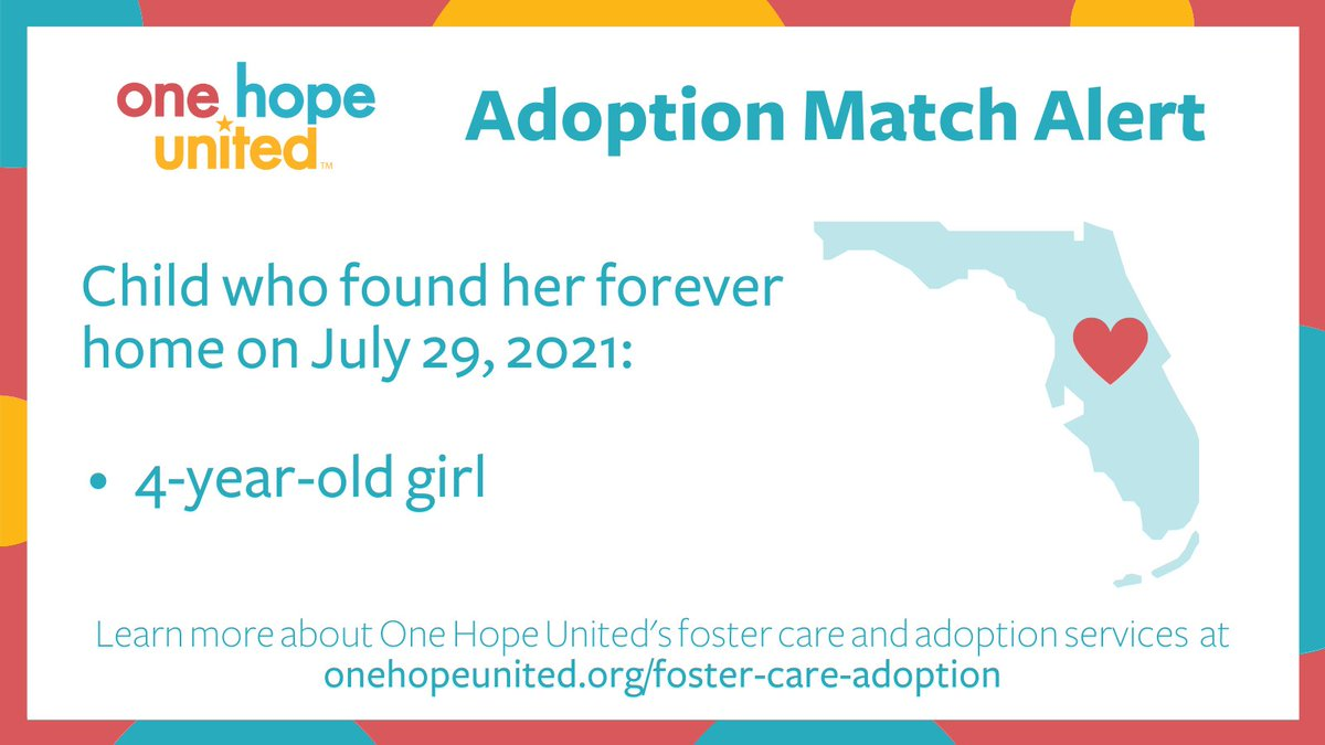 test Twitter Media - Family is forever. We're happy to share that yesterday, our adoption specialists in Florida matched a 4-year-old girl with her forever home!  Learn more about One Hope United's foster care & adoption services here: https://t.co/hov3knq3OH  #FosterCare #Adoption #ForeverFamily https://t.co/Yqzpib2l1e