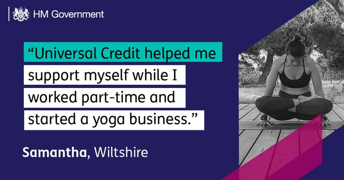 """""""Universal Credit helped me support myself while I worked part-time and started a yoga business."""" - Samantha, Wiltshire"""