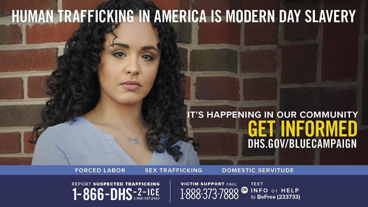 Together we can #EndHumanTrafficking. Recognizing the signs of #HumanTrafficking is the first step to identifying a victim. Learn the indicators from @DHSBlueCampaign ➡️ https://t.co/619zYcUnmu  #WorldDayAgainstTraffickinginPersons