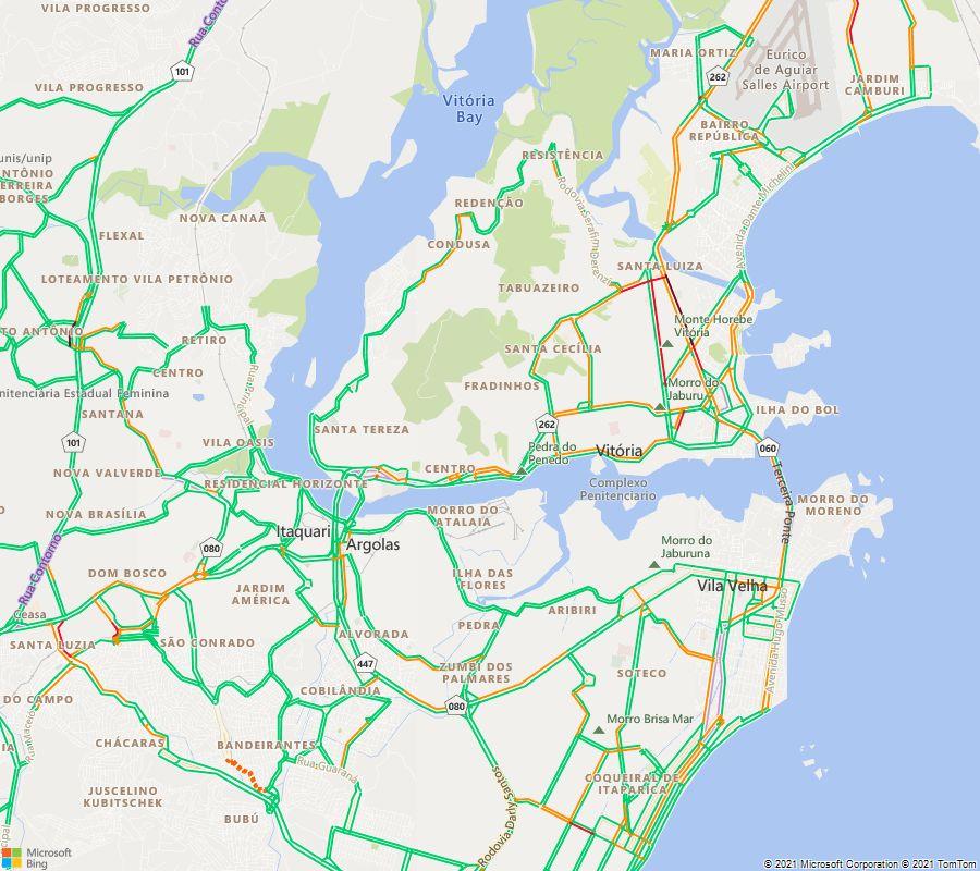 Situação do trânsito às 19:00 nas principais vias da Grande Vitória https://t.co/8MxQadJEFe