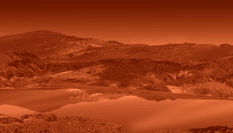 This artist rendering shows a mirror-smooth lake on the surface of the smoggy moon Titan.