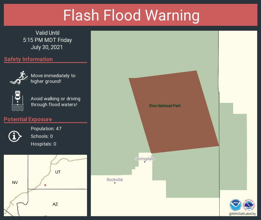 Image posted in Tweet made by NWS Salt Lake City on July 30, 2021, 8:18 pm UTC