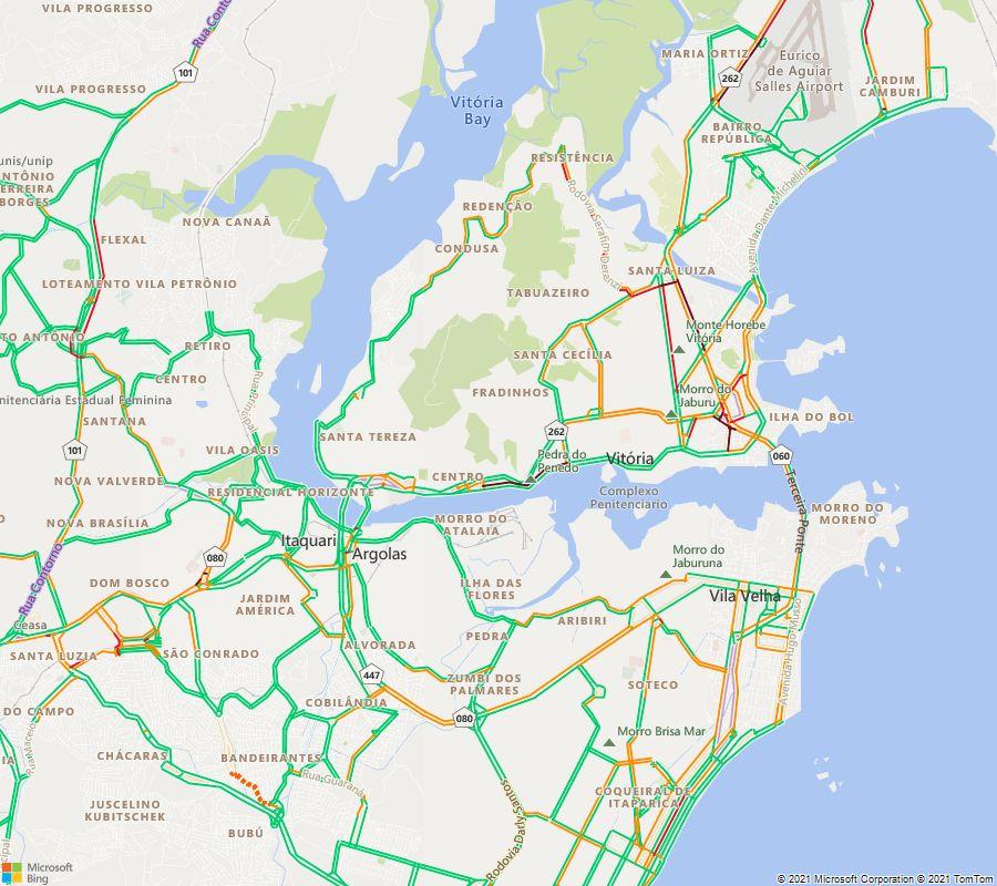 Situação do trânsito às 18:00 nas principais vias da Grande Vitória https://t.co/MQ4whVOJWE