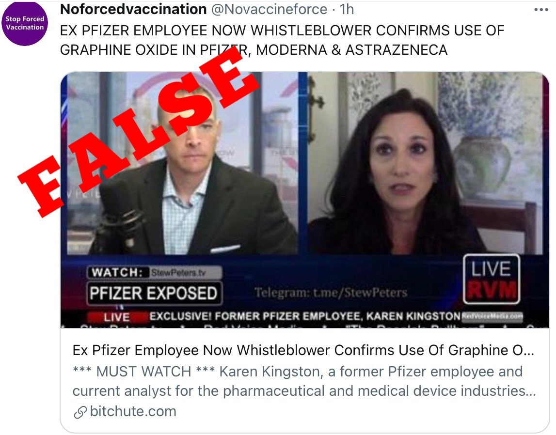 """HoaxEye on Twitter: """"Remember the false claims about graphene oxide in  Pfizer COVID vaccines? Even if the claims were debunked many times, it  doesn't stop people like Stew Peters and Karen Kingston"""
