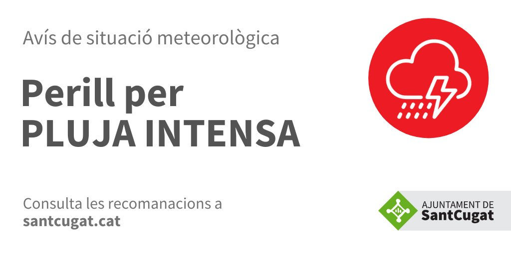 """☔️El Servei Meteorològic de Catalunya"""" emet un avís de situació meteorològica de perill per PLUJA que pot afectar a la nostra comarca avui, dia 31 de juliol.  ⛈️Els xàfecs aniran sovint acompanyats de tempesta i localment de calamarsa o pedra  #protecciócivil @meteocat"""