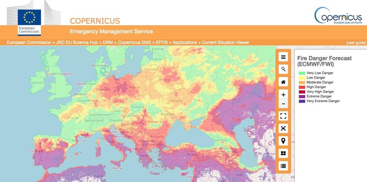 Alerta de incêndios na Europa, do European Forest Fire Information System (EFFIS)