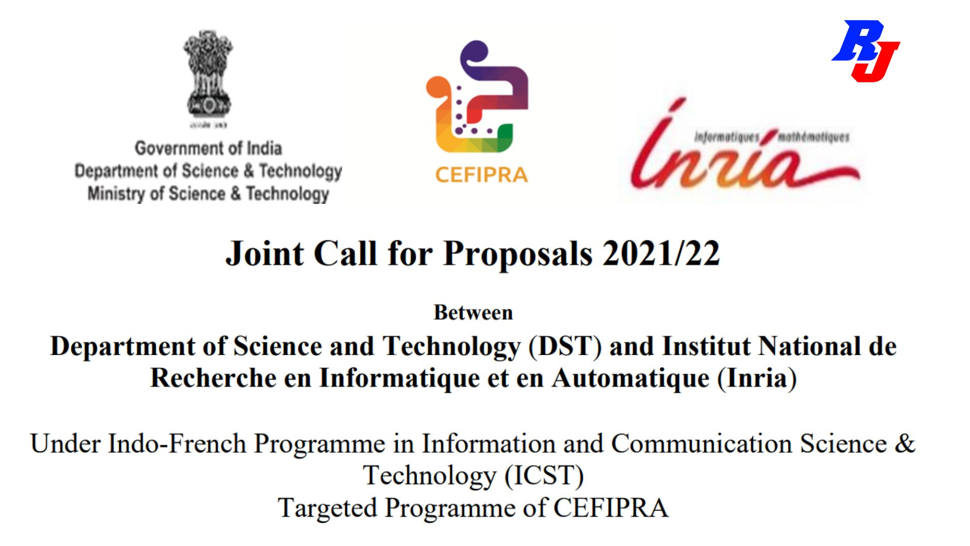 Joint Call for Proposals 2021/22  Under Indo-French Programme