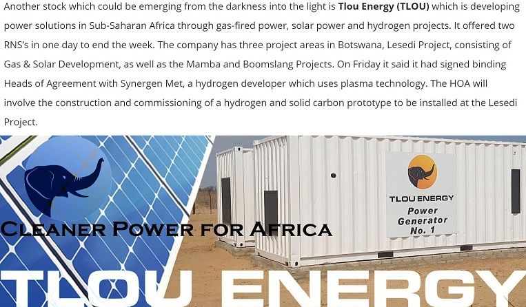Another stock that could be emerging from the darkness into the light is @TlouEnergy (#TLOU.L) which is developing power solutions in Sub-Saharan Africa through gas-fired power, solar power and hydrogen projects. It offered two RNS's in one day to end the week @ZaksTradersCafe https://twitter.com/ZaksTradersCafe/status/1421785537854283776