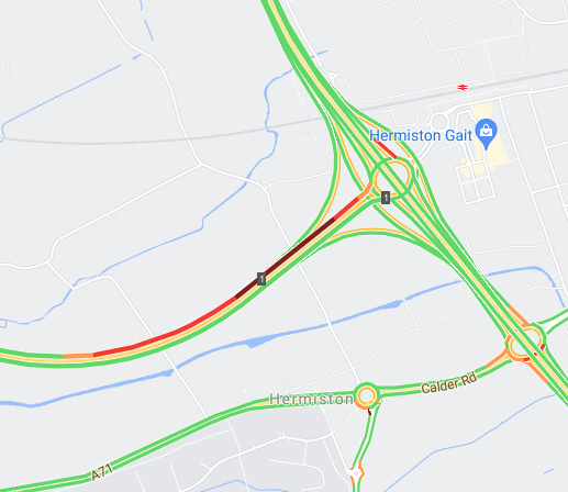 test Twitter Media - ❗️NEW⌚️ 16.52  RTC #M8 E/B on approach at Hermiston Gait roundabout.  Queues are building so please take care on your approach.  #edintravel @SETrunkRoads https://t.co/IoLWN69XFe