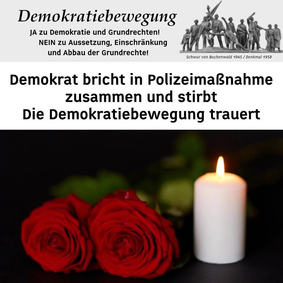 Die Toten mahnen uns! Trauerkundgebung für den gefallenen Demokraten