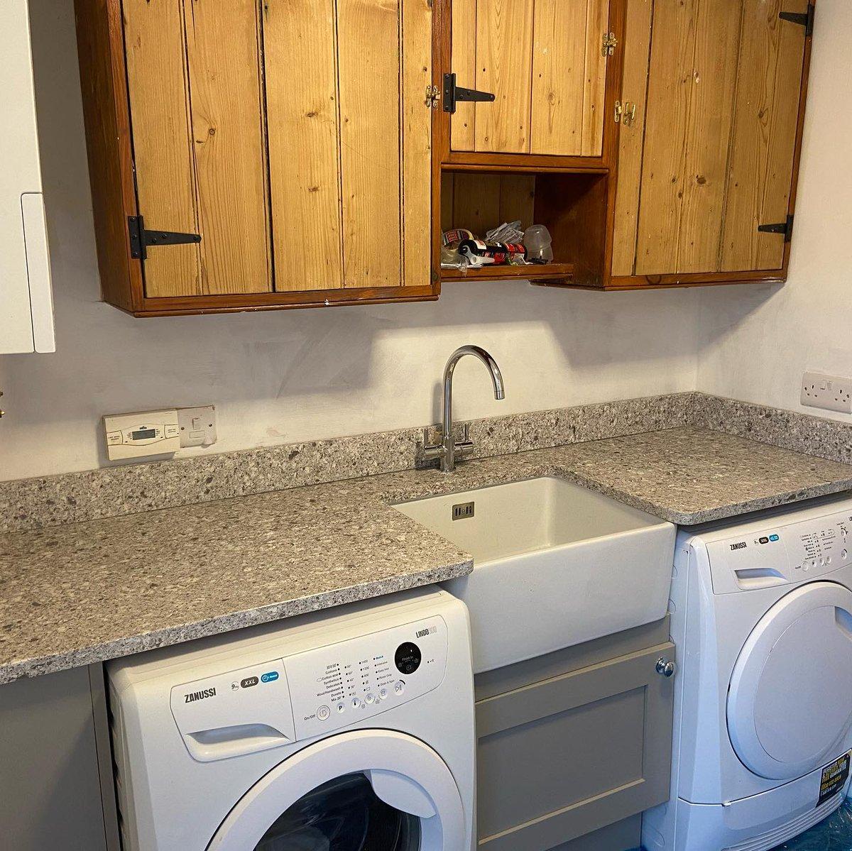 This utility room was given a new lease of life with the beautiful Atlantic Salt quartz from @CaesarstoneUK. marble-granite-quartz.com #caerstonecountertops #utilityroom #yorkshirequartz