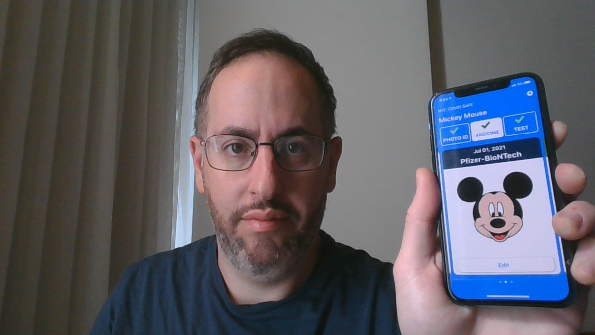 """Albert Fox Cahn's tweet - """"As I explained to @WNYC today, New York City's  new #NYCCovidSafe app isn't exactly cutting edge technology. It accepted  this portrait of Mickey as proof of vaccination."""