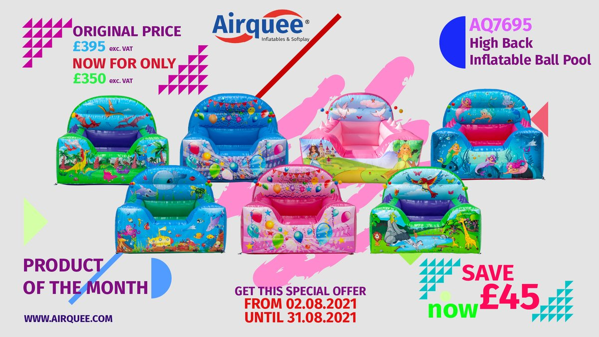 Product of The Month: AQ7695 High Back Inflatable Ball Pool🥇 Get this product for only £350 exc. VAT. 👉PROMOTIONAL PERIOD: Start Time: 02.08.2021 End Time: 31.08.2021 #productofthemonth #nr1 #TopSeller #promotion #discount #August #airquee