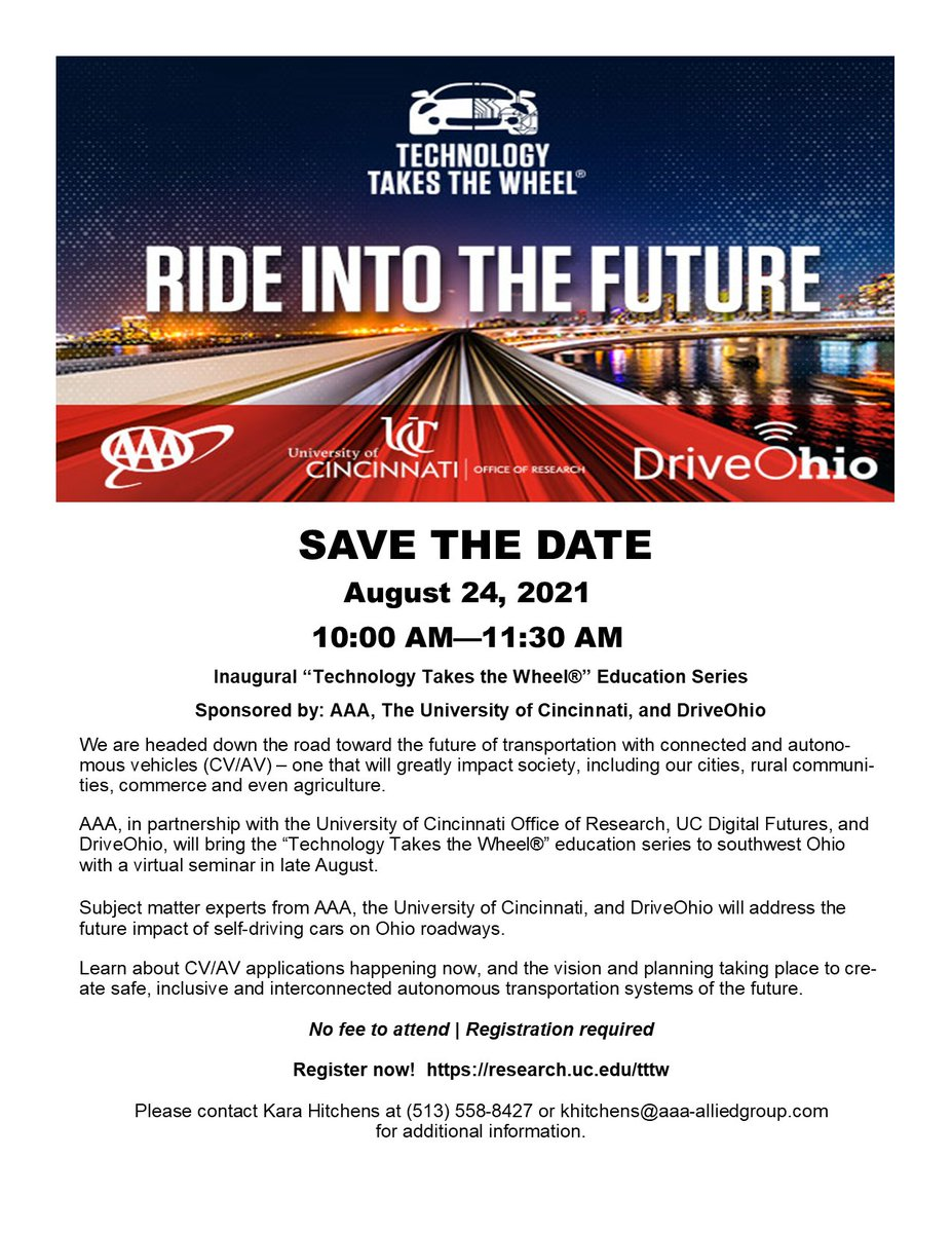 Image for the Tweet beginning: Join @AAAnews, @UCResearch, and @DriveOhio