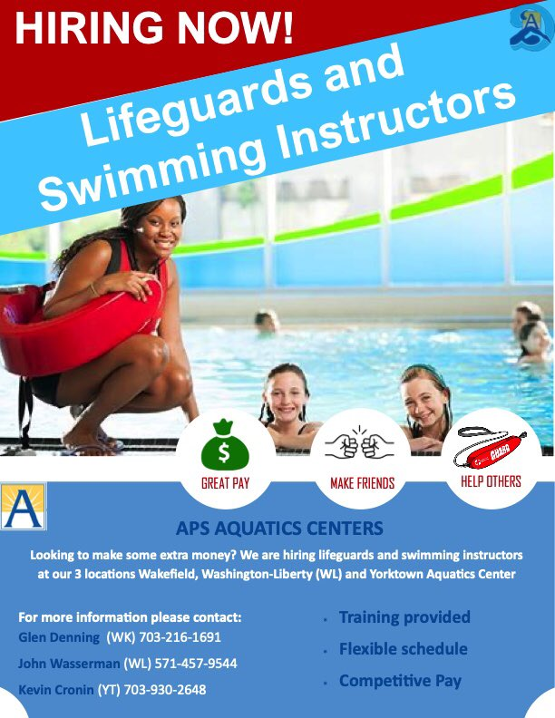 Interested in working for a fun and exciting organization? Want to save lives? Teach water safety skills to the community? Come join our team at the APS Aquatic Centers! Flexible schedules and great pay! Please contact John (WL), Glen(WK), or Kevin(YT) <a target='_blank' href='https://t.co/m342VkTFZP'>https://t.co/m342VkTFZP</a>