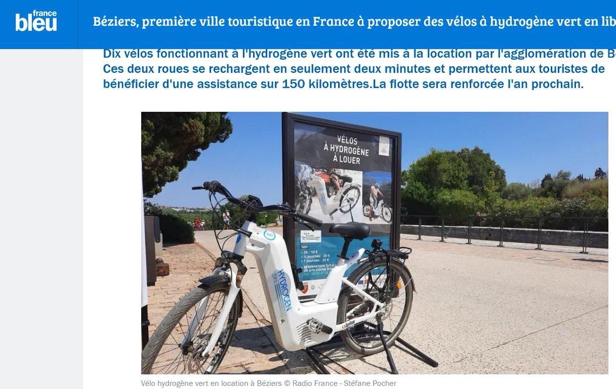 Bonjour à tous ! Pour commencer la semaine voici un article de Stefane Pocher sur le média en ligne de @FranceBleu Hérault, évoquant le déploiement des vélos à #hydrogène Alpha dans @VilleDeBeziers   Bonne lecture ! https://t.co/AiT12Ne4oM