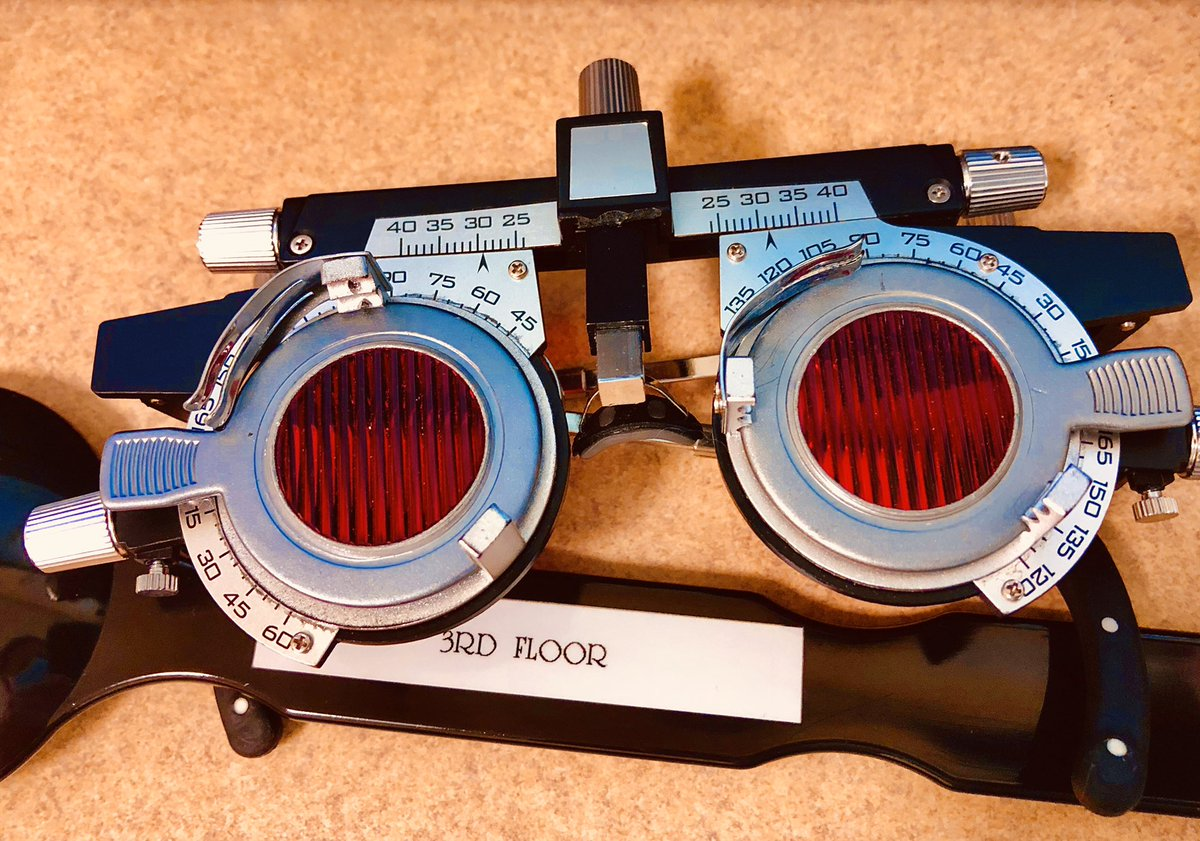 """Saw these bad boys in my ophthalmologist's office. I'm guessing the party line is that they're used for exams. But I feel pretty certain that my doc's a not-so-secret Steam Punk extremist, who loves to listen to Thomas Dolby's """"The Golden Age of Wireless.""""#steampunk @ThomasDolby"""