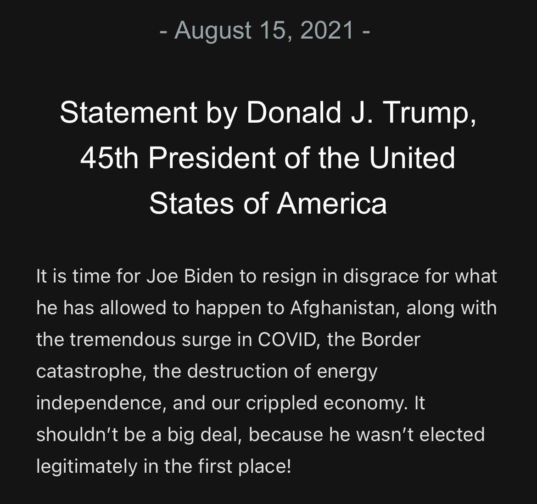 "Andrew Solender on Twitter: ""Trump says Biden should ""resign in disgrace""  over Afghanistan… """