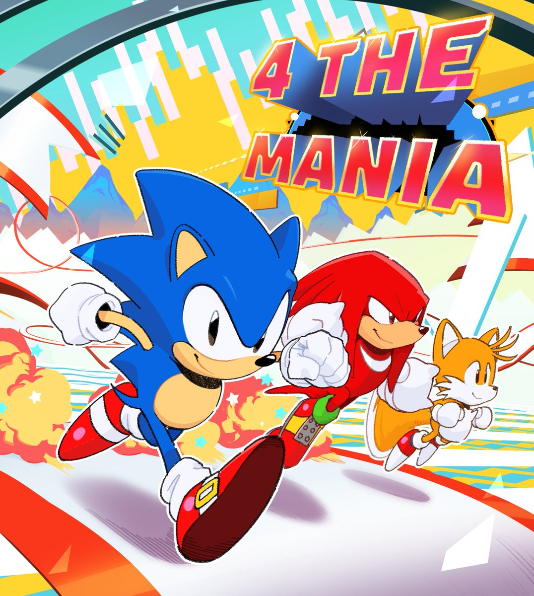 """Classic Sonic, Knuckles, and Tails running along a path with the text, """"4 the mania"""""""