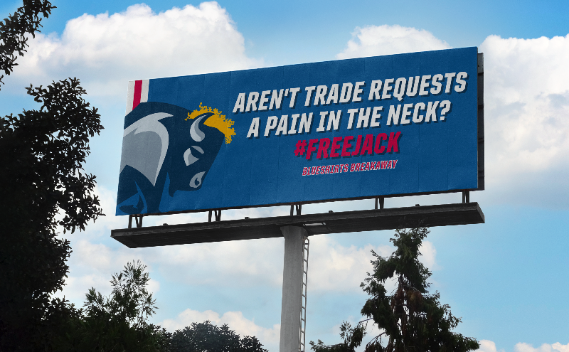 A billboard in Buffalo from Blueshirts Breakaway about Jack Eichel