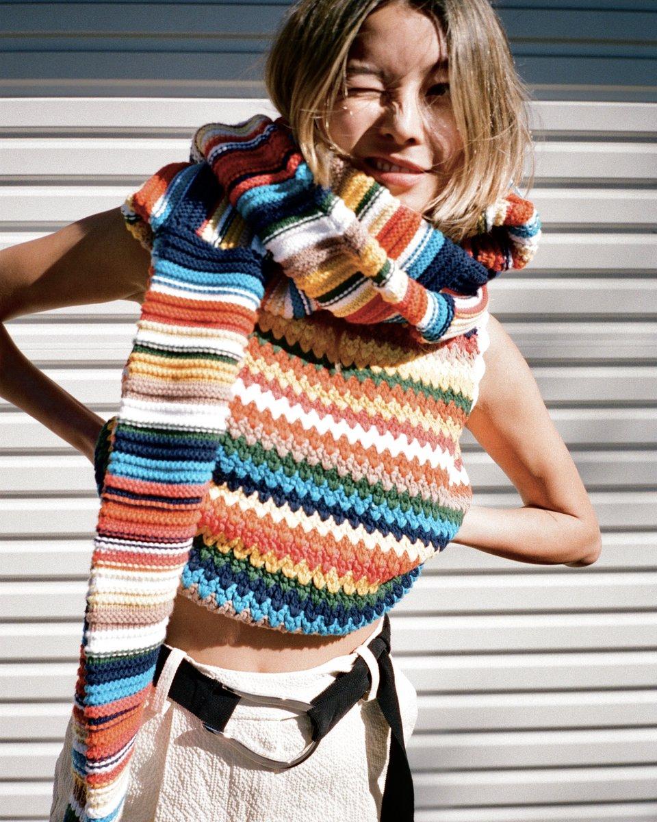 Our handmade crochet VVB knit, worn by you 🌈 https://t.co/XpLNjWXGGk https://t.co/RwVuvMquzH