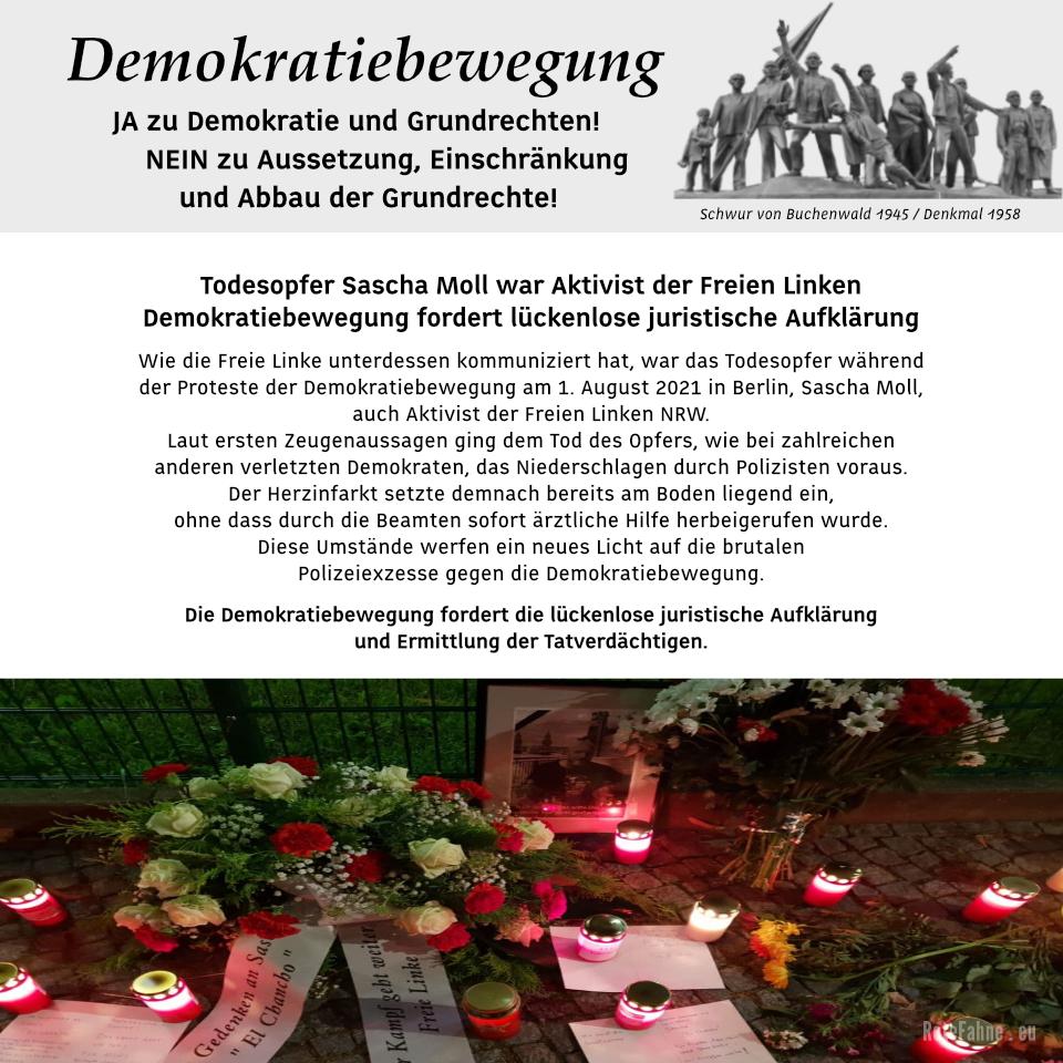 Demokratiebewegung fordert lückenlose juristische Aufklärung - Todesopfer Sascha Moll war Aktivist der Freien Linken