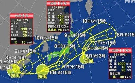 台風が3つ連続で列島へ、まるでジェットストリームアタック!