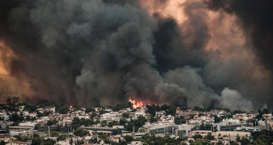 Griechenland Athen: Bild des Brennenden Vororts von Athen .