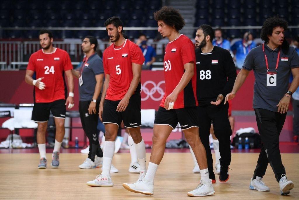 المنتخب المصري لكرة اليد عقب خسارته أمام المنتخب الفرنسي - طوكيو 2020