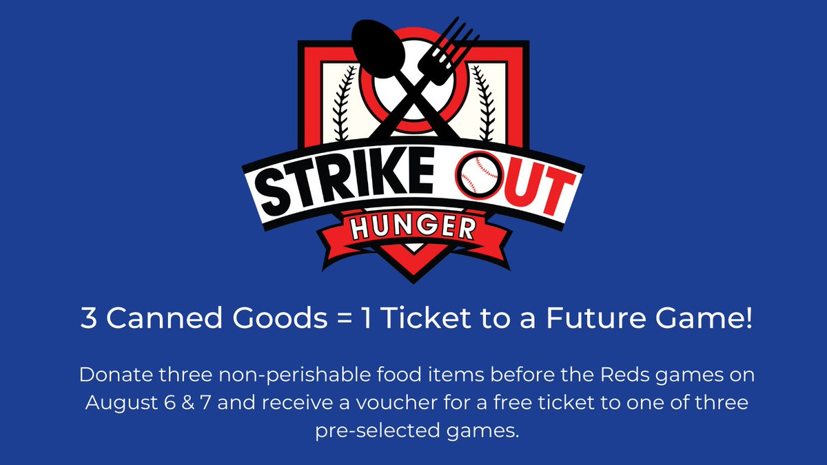 Heads up @Reds fans: Bring donations to the Friday and Saturday games, get a ticket to a future game! https://t.co/SLKDAgrZ4g
