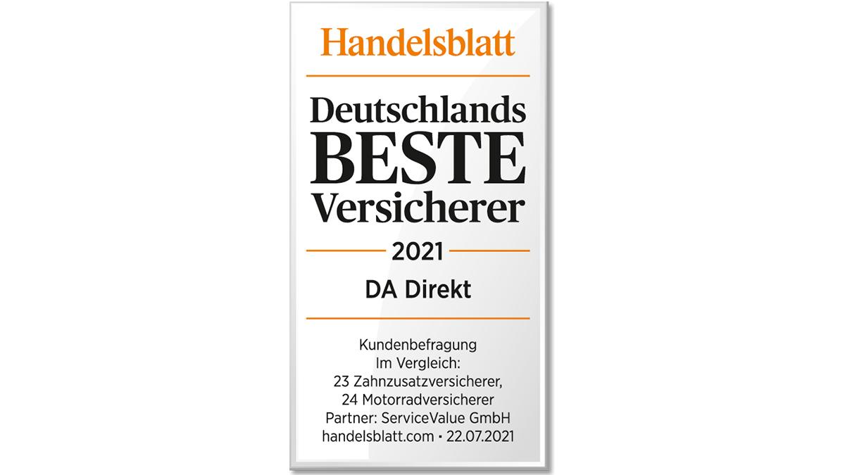Ausgezeichnet! 🏆 @DADirekt wurde vom @handelsblatt in den Kategorien  #Motorradversicherung und #Zahnzusatzversicherung zu Deutschlands bestem Versicherer 2021 gekürt. https://t.co/vdOU7Fre1M