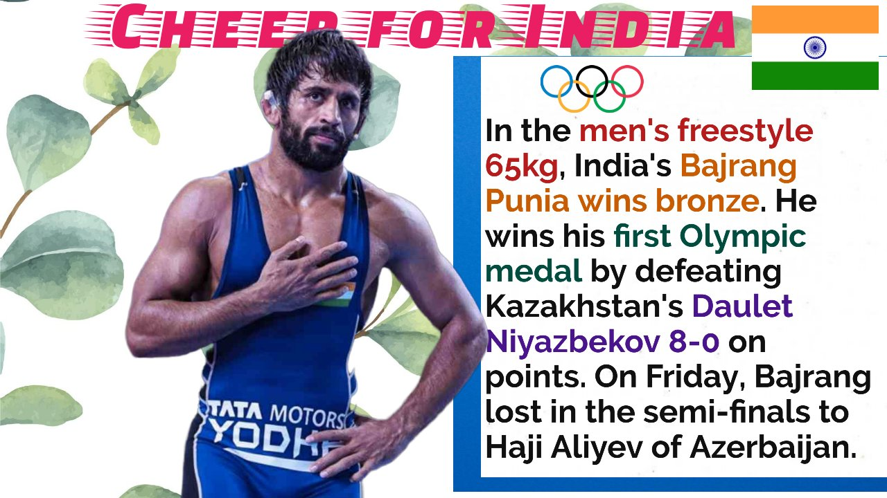 Indian wrestler Bajrang Punia wins maiden Olympic medal – bronze in freestyle 65kg by 8-0