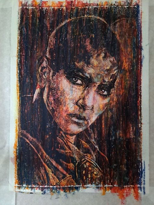 Happy birthday Charlize Theron! Oil and ink on acrylic paper, 21cm x 30cm.