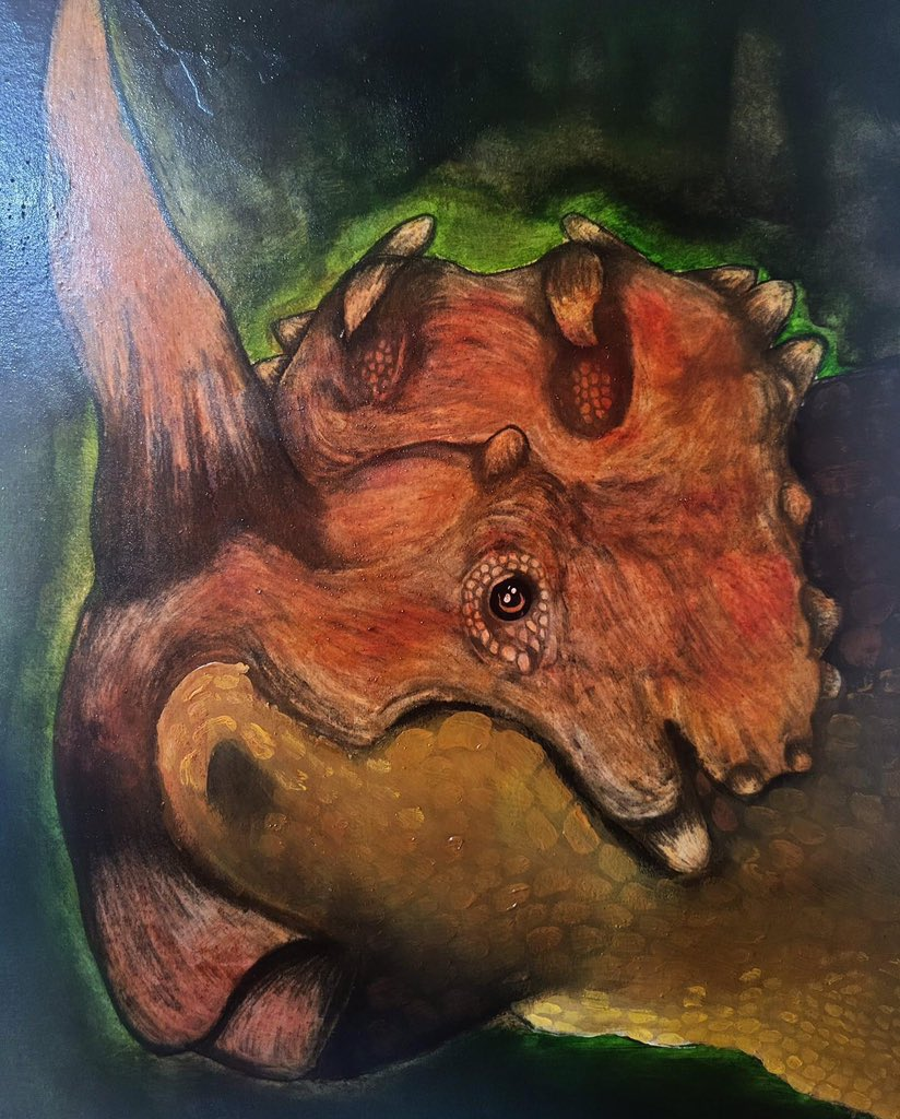 Prehistoric Beast (Traditional Painting) by @BenitoDlr   #art #artwork #drawing #drawdinovember #illustrationart #illustration #acrylicpaintings #paintings #paintingoftheday #paleontology #paleoart #animals #animalkingdom  #JurassicPark #JurassicWorld #dinosaurs #ceratopsians