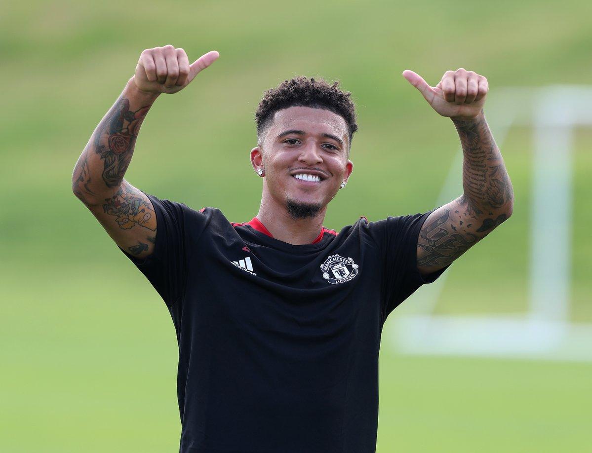"""Hình ảnh """"bom tấn"""" Sancho lần đầu trên sân tập của Man United"""