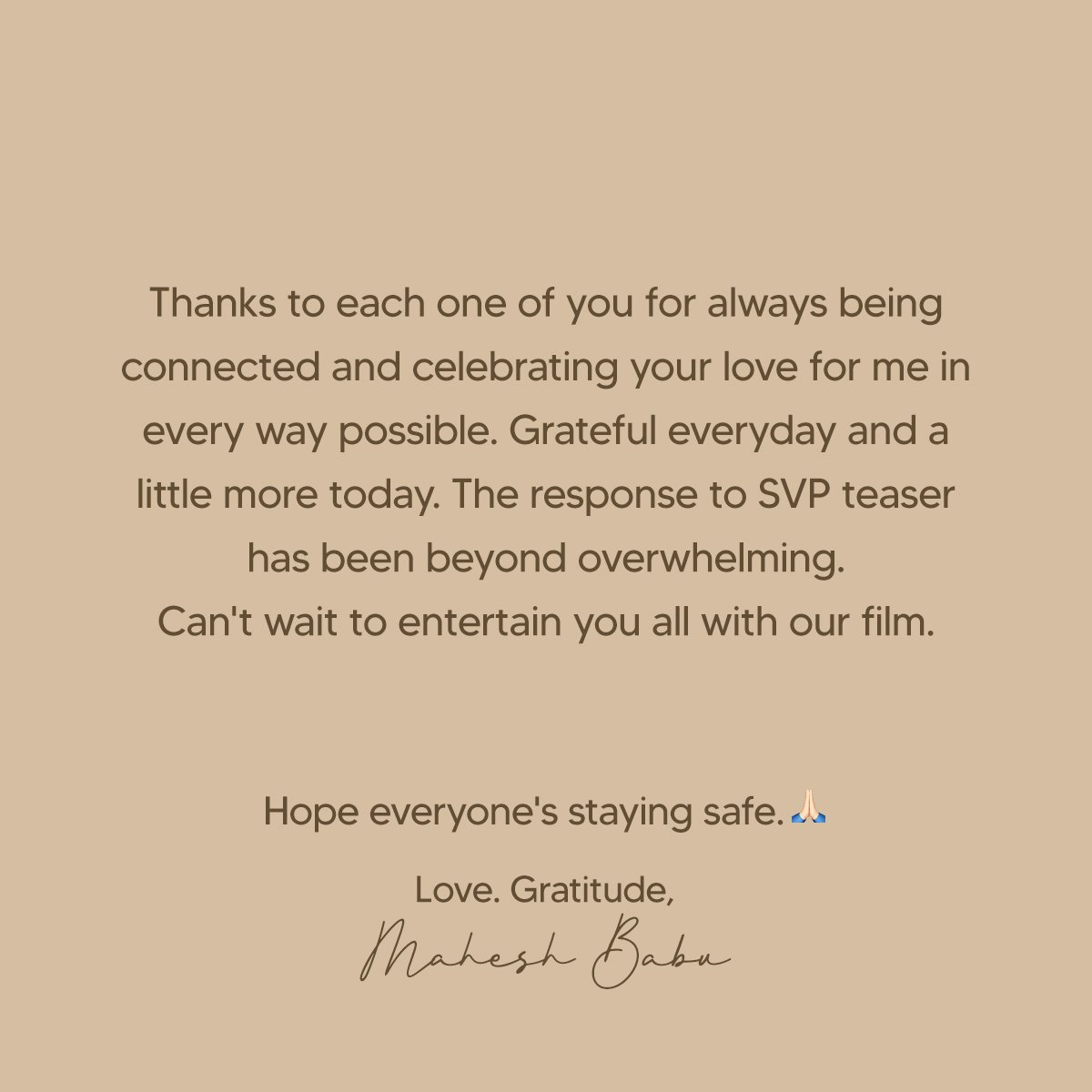 Humbled by all the love and wishes! 🙏 https://t.co/y018FiCgK8